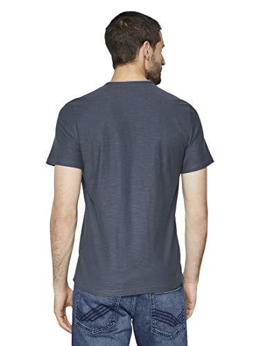 TOM TAILOR Herren T-Shirts/Tops Gestreiftes Henley-T-Shirt Cyber Grey Yarndye Stripe,L,16061,2500