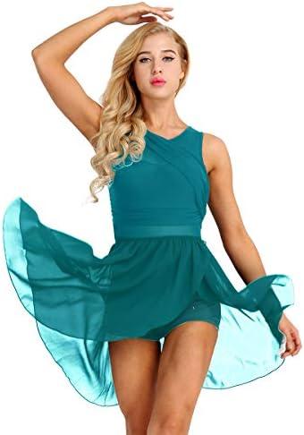 ranrann Women s Lyrical Dance Costume V Neck Chiffon High Low Skirted Leotard Modern Contemporary product image