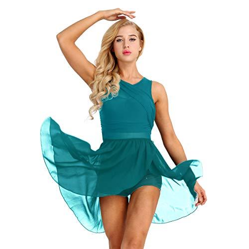 IEFIEL Vestido Danza Ballet para Adulto Mujer Vestido Tutu de Gasa Maillot Clásico Ballet Gimnasia Bailarina para Chica Niña XS-XL