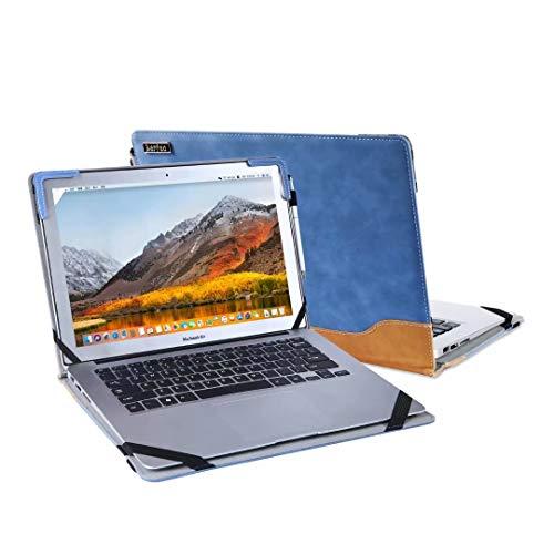 Stående laptopfodral kompatibel med Lenovo Yoga Slim 7 14 tum/Slim 7i 14 tum/Slim 7 Pro 14 tum/Slim 7 15 tum Notebook skydd fodral fodral skinn väska, med kylfäste (yoga slim 7/7i 14 tum, blå)