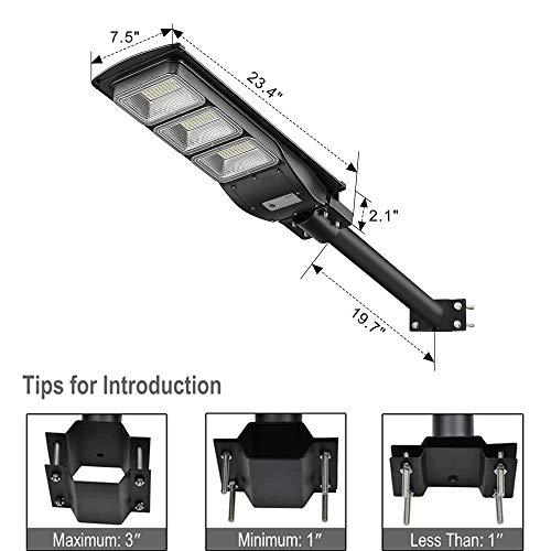 6000LM Solar LED Street Light-Outdoor Solar Power Street Lamp with Motion Sensor and Light Control for Park,Garden,Garage, ST60-039