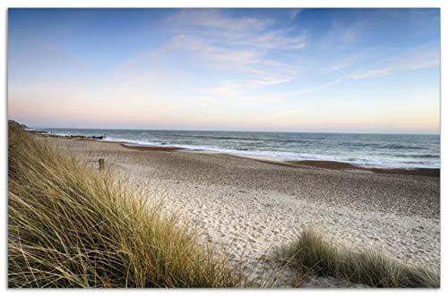 Wallario Herdabdeckplatte/Spritzschutz aus Glas, 1-teilig, 80x52cm, für Ceran- und Induktionsherde, Motiv Strandspaziergang im Urlaub an der Ostsee
