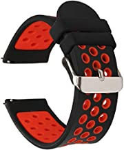 Universal 18mm 20mm 22mm 24mm Width Silicone Watch Band Replacement (20mm, Black-Red)