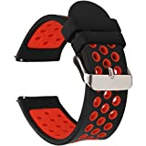 Universal 18mm 20mm 22mm 24mm Width Silicone Watch Band Replacement (24mm, Black-Red)