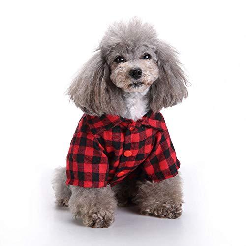 YUEBAOBEI Traje De Abrigo para Perros/Mono, Suéter De Camisa A Cuadros Rojos con Overol De Color Caqui,…