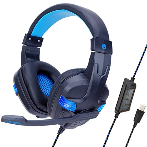 Yowablo USB Gaming Headset für PS4 PC 7.1 Surround Sound Noise Cancelling(Blau)