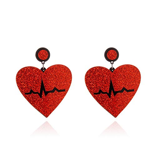 QYMX Pendiente Mujer, Euramerican Hyperbole Red Glittery Heart Pendientes de acrílico para Mujer Moda Wave Electrocardiógrafo Pendientes Grandes