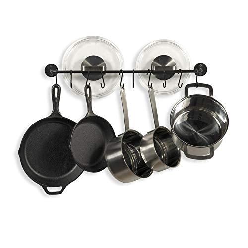 Fasthomegoods Steel Gourmet Kitchen 24 Inch Wall Rail and 10 S Hooks Utensil Pot Pan Lid Rack Storage Organizer Set, Black