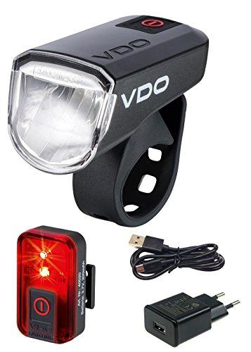 VDO Fahrradlampe Eco Light M30 Set Rücklicht Frontleuchte (Set Rücklicht und Frontleuchte Plus)