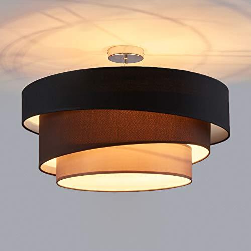 Lindby Stoff Deckenlampe rund 56 cm | 3 flammig | 3 Ringe | Textil Deckenleuchte Schwarz, Braun, Grau | Deckenleuchte Stoff für Schlafzimmer, Wohnzimmer, Esszimmer