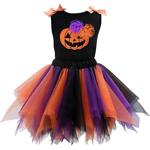 Bebé Niña Halloween Vestido Conjunto de Vestido, Calabaza Chaleco y Falda de Tul Disfraz Trajes 1-2 Años