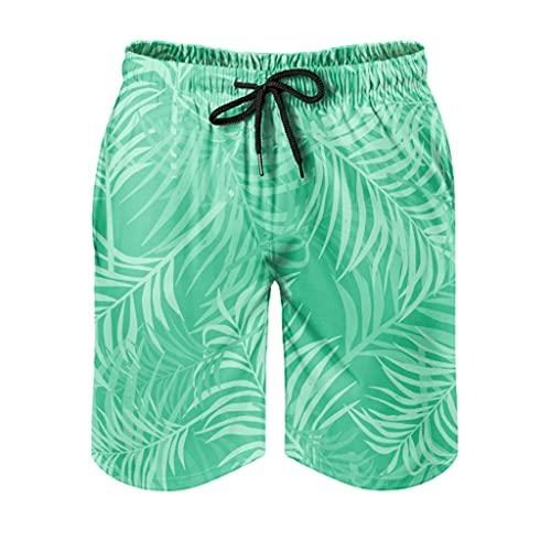 Ktewqmp Zomer zwembroek Tropisch palmgroen mannen zwembroek zwembroek heren met zakken sport