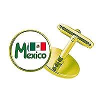 メキシコ国旗の緑のパターン スタッズビジネスシャツメタルカフリンクスゴールド