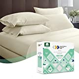 Premium 600 Thread Count 100% Natural Cotton Sheets - 4-Piece Ivory Color Cal King Sheet Set Cotton Bed Sheets for Bed Sateen Weave Sheets Set Fits Mattress 16'' Deep Pocket
