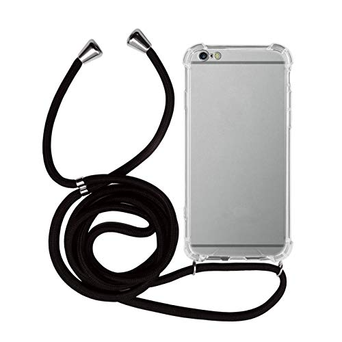 MyGadget Handykette für Apple iPhone 6 Plus / 6s Plus TPU Hülle mit Handyband zum Umhängen - Handyhülle mit Band Halskette Kordel Schnur Case Schutzhülle - Schwarz