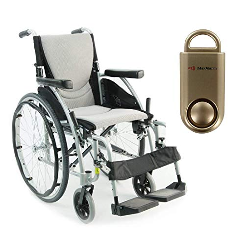 Karman S-Ergo 115 Ultra Lightweight Ergonomic Wheelchair | Seat Size 20' X 17' | Swing Away Footrest | Fixed Wheels in Silver & Free 130 dB Gold Safety Alarm!