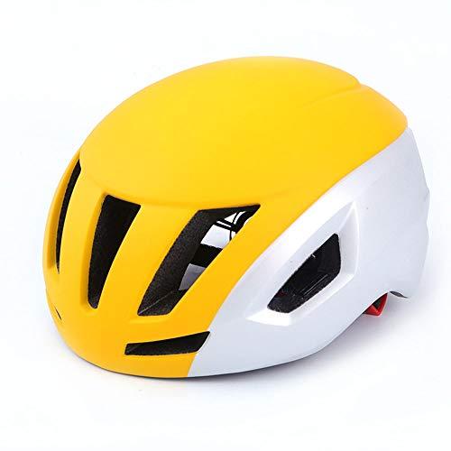 Stella Fella Casco de bicicleta de carretera para hombre de una sola pieza, casco neumático de viento roto, casco de equitación para hombres y mujeres, transpirable (color: amarillo)