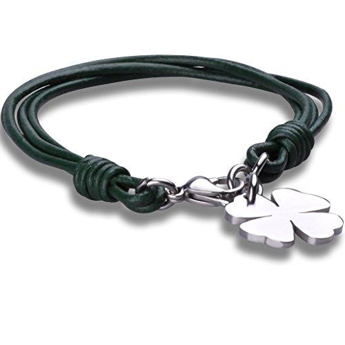 Stayoung Jewellery Moda Unisex Acero Inoxidable Cuero Trenzado Pulsera Brazalete Trébol de Cuatro Hojas, Verde