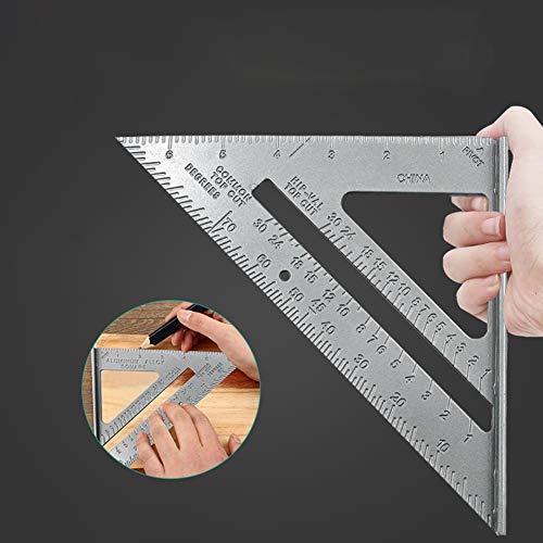AKDSteel Aluminium Lineal Dreieck, Carpenter Square Drafting Winkelmesser Metalldreieck 45/90 7 Zoll Holzbearbeitung Messlineal 7 Zoll Messlayout Tool