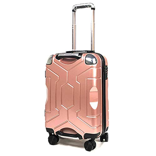 ABS Luggage, Silent Rotating Wheel with TSA Lock Spinner Strong and Sturdy Suitcase for Bedroom Hotel Traveling-Rose gold-76cm