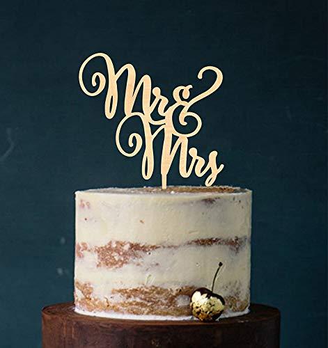 Cake Topper, Mr & Mrs, Farbwahl - Tortenstecker, Tortefigur Acryl, Hochzeit Hochzeitstorte Kuchenaufstecker (Holz) - Art.Nr. 5024