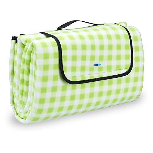 Relaxdays Picknickdecke XXL, 200 x 200 cm, Fleece Stranddecke, wärmeisoliert, wasserdicht, mit Tragegriff, grün-weiß
