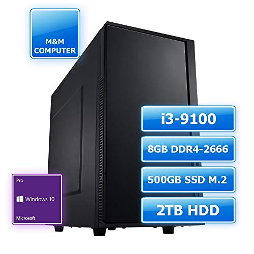 M&M Computer Dresden Professional Silent PC Intel, Intel Core i3-9100 CPU 4 Kerne, 8GB RAM 2666MHz, 480GB SSD M.2 (NVMe), 2TB HDD, MS-Windows 10 Pro, Marken-Gehäuse gedämmt, Büro- und Business-PC
