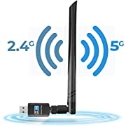 USB WiFi Adapter 600Mbps Dual Band 2.4GHz and 5.8GHz Wireless Network Adapter 802.11ac Network Card Wireless Network WiFi Dongle with 5dBi Antenna Compatible with Windows 10/8/7/Vista/XP Mac OS, No CD