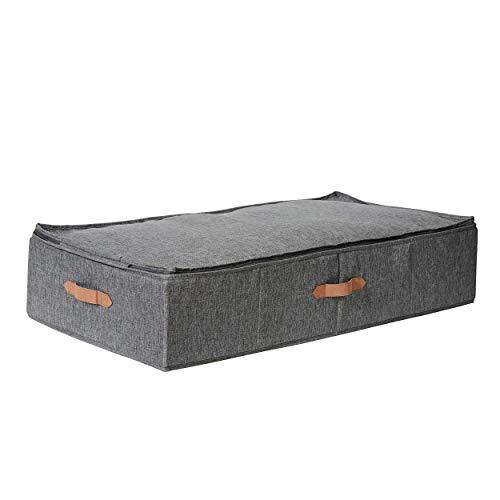 LOVE !T STORE !T – Premium sängbord – sängkläder förvaring – förvaringsväska för filtar och kuddar – 90 x 45 x 18 cm – extra stabil, MDF-förstärkt – grå – 676683
