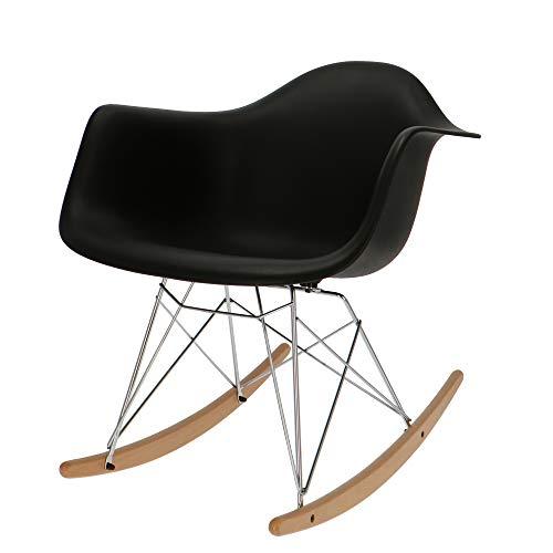 Popfurniture Eames RAR Schommelstoel, schommelstoel, schommelstoel van metaal, kunststof en ahornhout, 63 x 60 x 67 cm