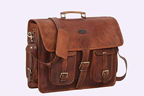 ganpati handicrat Borsa messenger, cartella per laptop e libri in vera pelle per uomini e donne, in stile vintage, fatta a mano, robusta e anticata