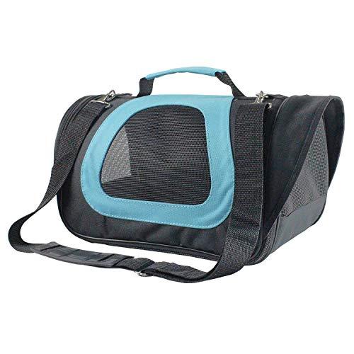 Nobleza -Transportin Gato Perro, Bolsa de Transporte Transpirable para Mascotas, 34 * 21 * 22CM transportador de Mascotas para Perros Gatos Avión Mediano (Negro Azul)