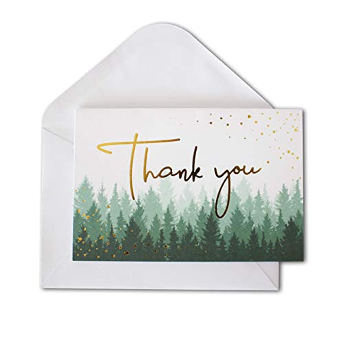 Thank You Cards with Envelopes | 48 Gold Foil Forest Nature Wedding Thank You Cards | Baby Shower Thank You Cards | Bridal Shower, Rustic Woodland Thank You Notes with Envelopes Set | 4x6 Inches