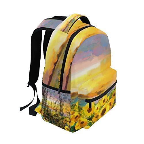 DEZIRO olieverfschilderij geel gouden zonnebloem madeliefje bloemen patroon schoolpakket weven rugzakken