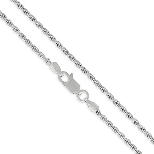 """Authentic Solid Sterling Silver Rope Diamond-Cut Braided Twist Link .925 Rhodium Necklace Chains 1.5MM - 5.5MM, 16"""" - 30"""", Made In Italy, Men & Women, Next Level Jewelry - 2MM,24"""