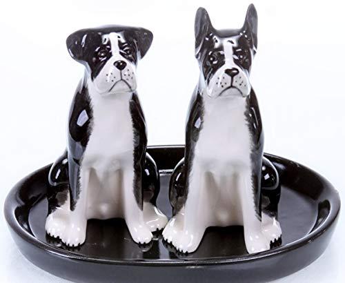 Boxer Hund Salz und Pfefferstreuer Figur Keramik Geschenk Küche Tisch Set