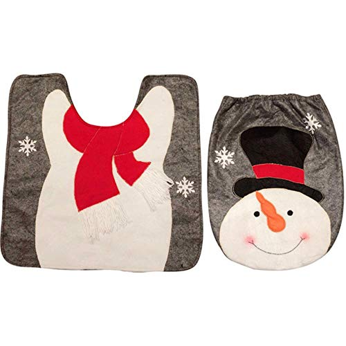 2PCS Set Fancy Snowman Tapa de baño y alfombra Juego de baño Decoración navideña Accesorios de baño Juego de tapa de asiento de inodoro Mat, B