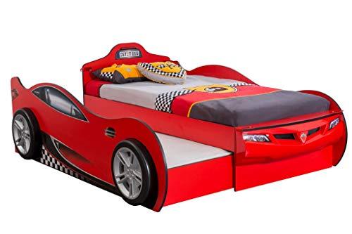 Froschkönig24 Cilek RACECUP Autobett Kinderbett Bett Ausziehbett Rennfahrerbett Rot, Matratzen Oben/unten:mit 2X Matratze