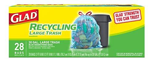 Glad Large Drawstring Recycling Bags - 30 Gallon Blue Trash Bag - 28 Count