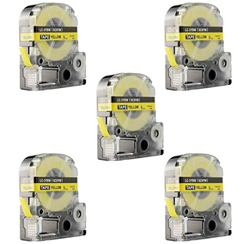 Replace Label Tape for Epson LK3WBN LC3WBN9, Label Tape Cartridge Compatible for Epson LabelWorks LW300 LW400 LW500 LW600P LW700,3/8 Inch X 26.2 Feet(9mm x 8M) (12mm Black on Yellow, 5 Pack) Photo #4