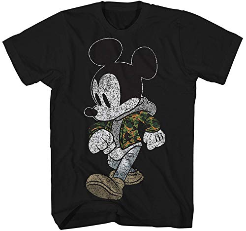 Mickey Mouse Camo Hyped Disneyland World Retro Classic Vintage Tee Funny Humor Adult Mens Graphic T-Shirt Apparel (Medium, Jet Black)
