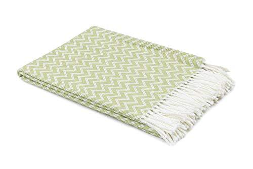 myHomery Decke aus Baumwolle - Tagesdecke leicht und kuschelig - Made IN EU - Wolldecke mit Zick-Zack Muster - Wohndecke Fransen - Kuscheldecke modern & hochwertig - Weiß/Hellgrün | 130 x 170 cm