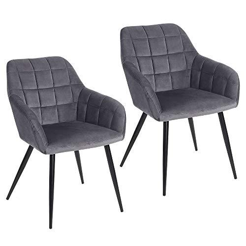 Froadp Esszimmerstühle Sessel mit Armlehne und Metallspray Bein Flanell Polsterstuhl Besucher-Stuhl Konferenzstühle Bürostuhl(2er Set, Dunkelgrau)