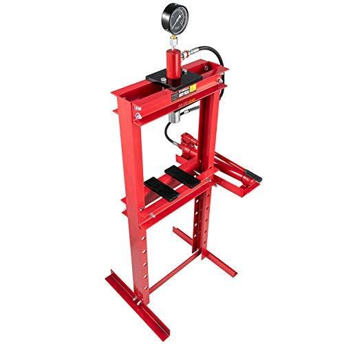 Mophorn Presse d'atelier hydraulique cadre en H de 12 tonnes Hydraulique d'Atelier Presse hydraulique d'établi avec combinaison demanomètres rouge pour plier ou redresser le métal