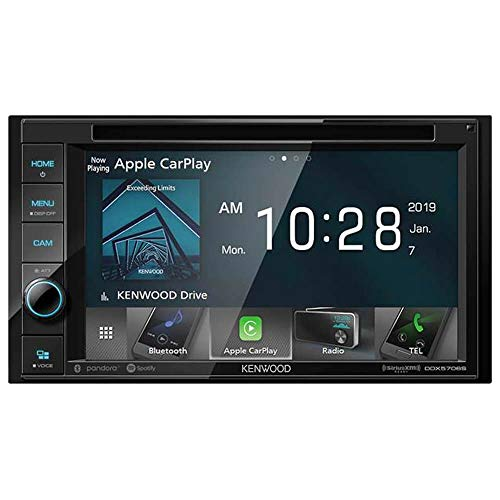 KENWOOD DDX5706S 6.2-Inch Double-DIN In-Dash DVD Receiver with Bluetooth, Apple CarPlay and SiriusXM Ready