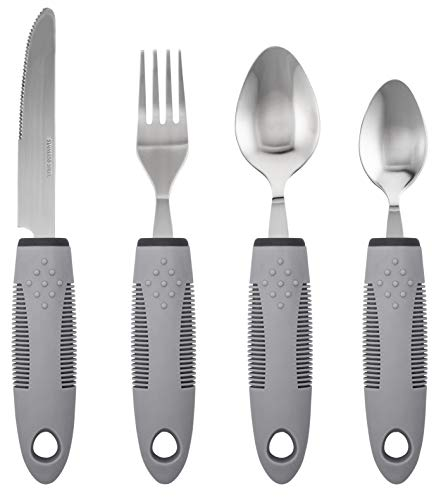 Adaptive Utensils (4-Piece Kitchen Set) Non-Weighted, Non Slip Wide Handles for Hand Tremors, Arthritis, Parkinson's Disease or Elderly use | Cutlery Silverware - Knife, Fork, Spoons (Gray - 1 Set)