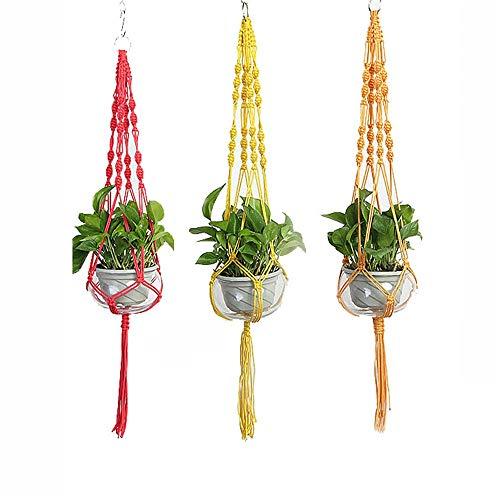 Honglimeiwujindian kleerhangers van macramé, voor het ophangen van planten, 3-delige set, bloemenmand voor de bloem, Ivy succulent ijzer, decoratie voor binnen, tuin
