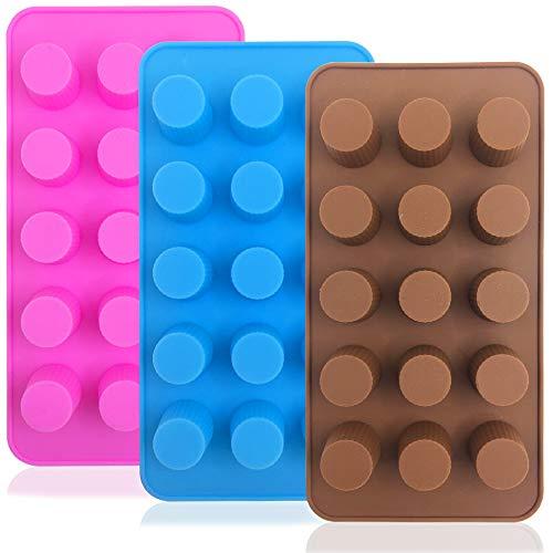 FineGood 3 stks Siliconen Snoepvormen, Dikke Bommen Chocolade Vorm IJsblokjes Koekjes Bakpannen - Chocolade, Roze, Blauw