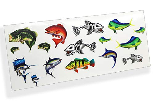 1:10 Scale Saltwater Fish RC Sticker Sheet Full Color Printed Remote Control Garage Display Fishing Boat Car Crawler Body Decal Pack