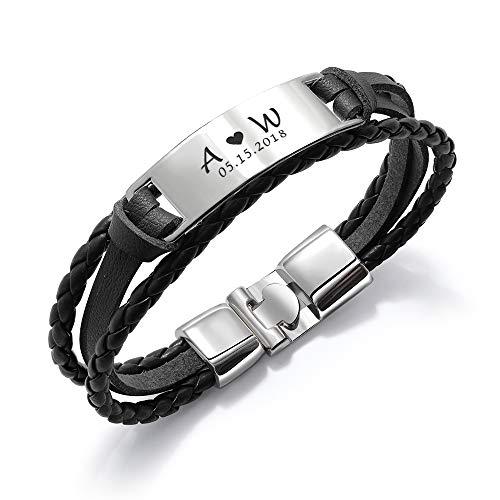 howson london Personalised Mens Bracelet | Leather Engraved Bracelet Gift for Him...